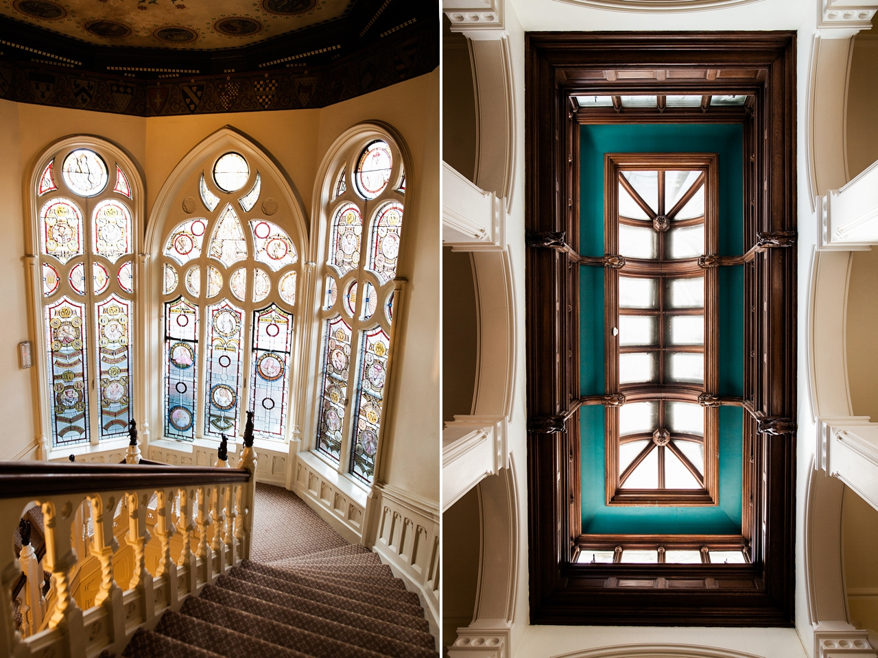 The beautiful staircase and stained glass windows at The Elvetham