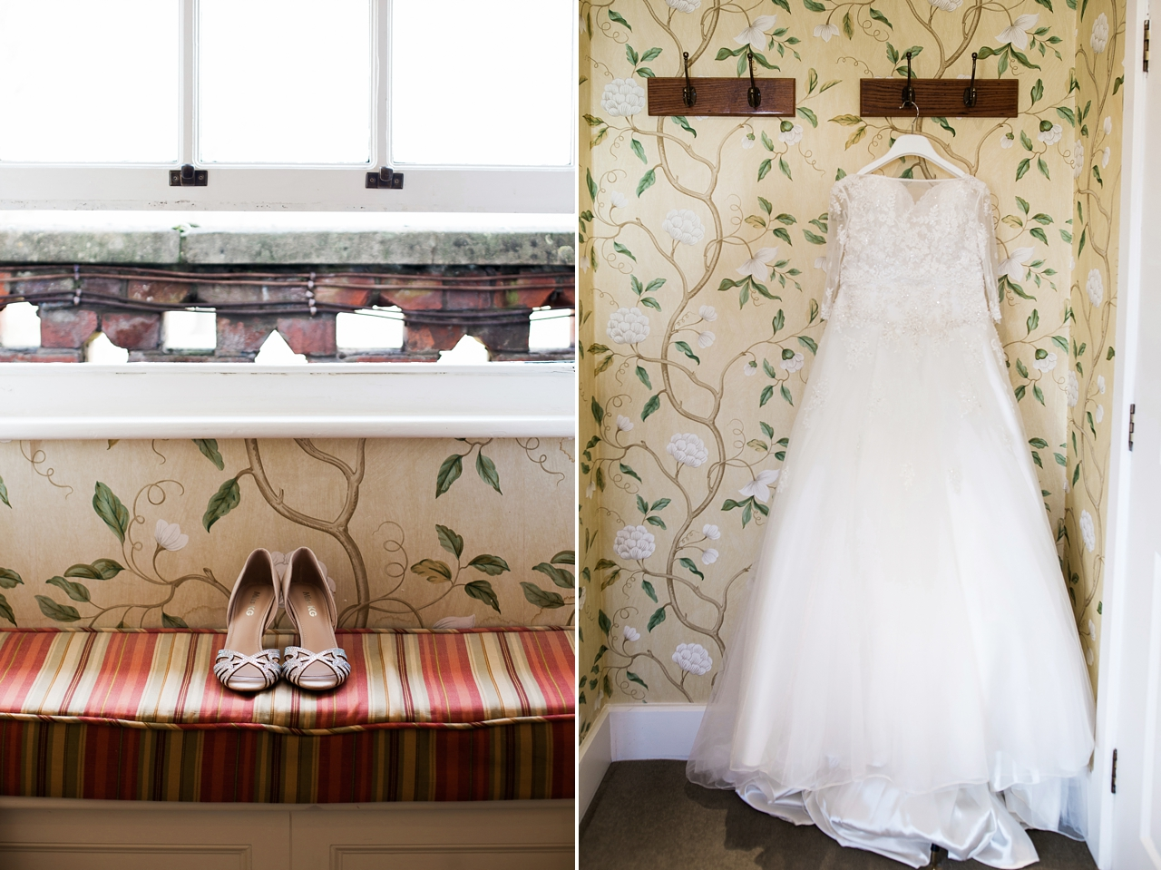 Bridal prep at the Elvetham of bridal shoes and wedding dress