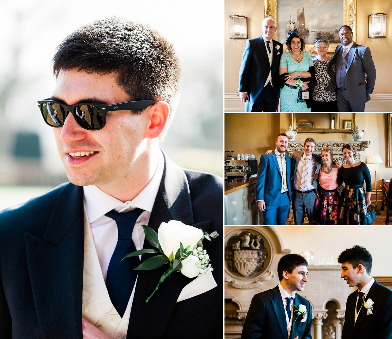Candid portraits of groom and family