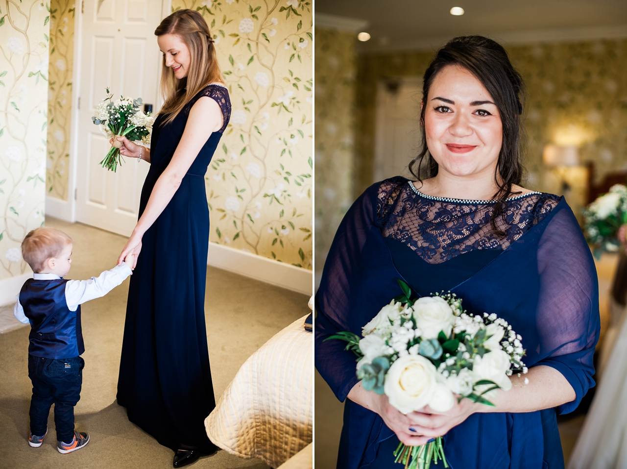 Beautiful candid photos of bridesmaids in navy blue
