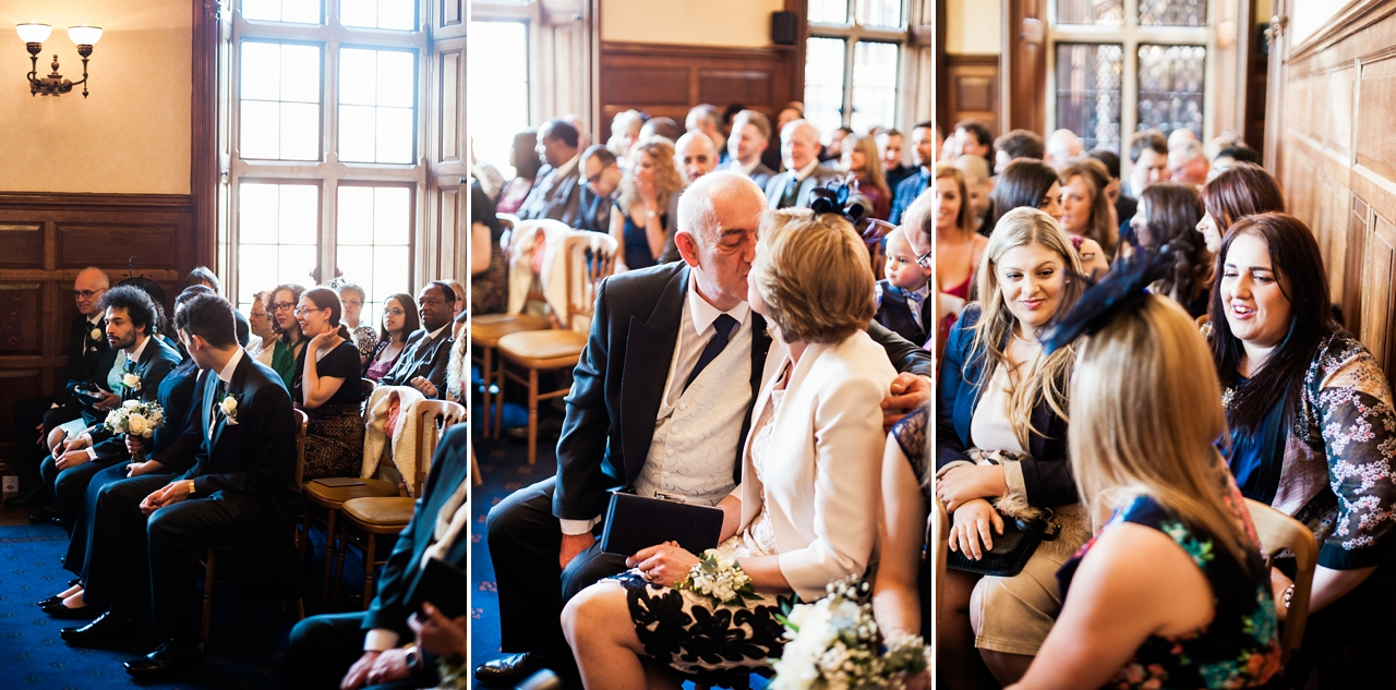 Natural photos of wedding guests seated