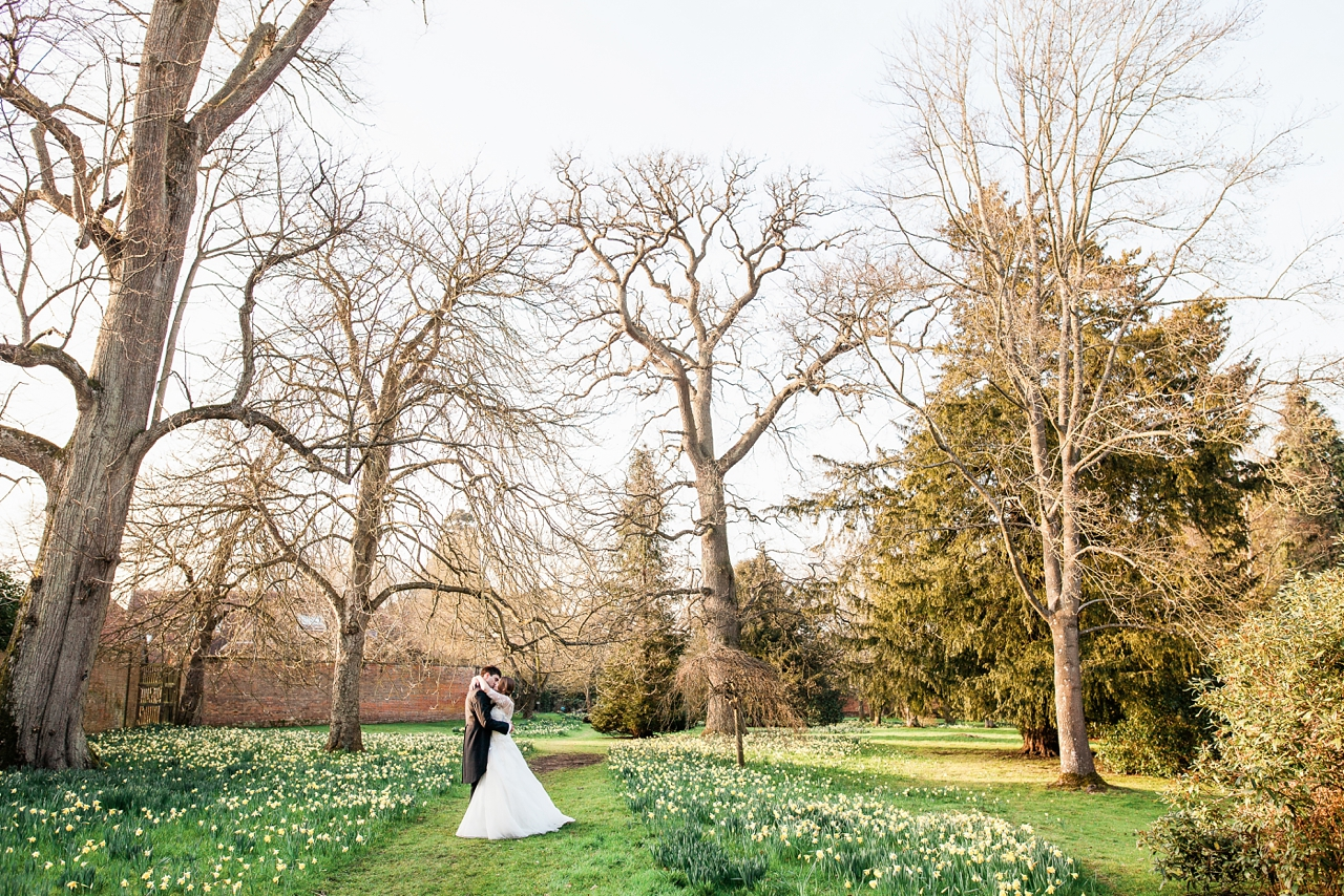 Bride and Groom in a beautiful Spring garden
