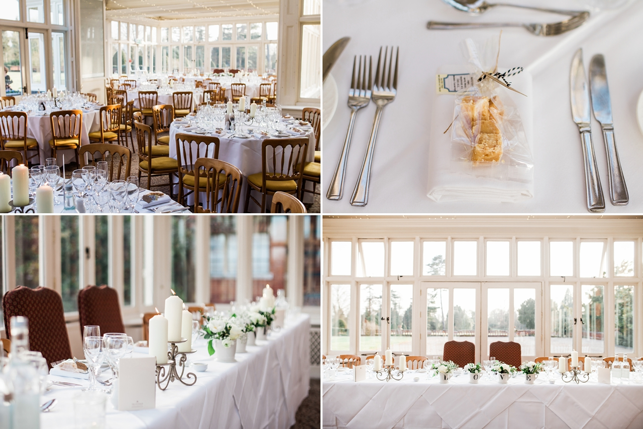 Wedding breakfast details in the conservatory