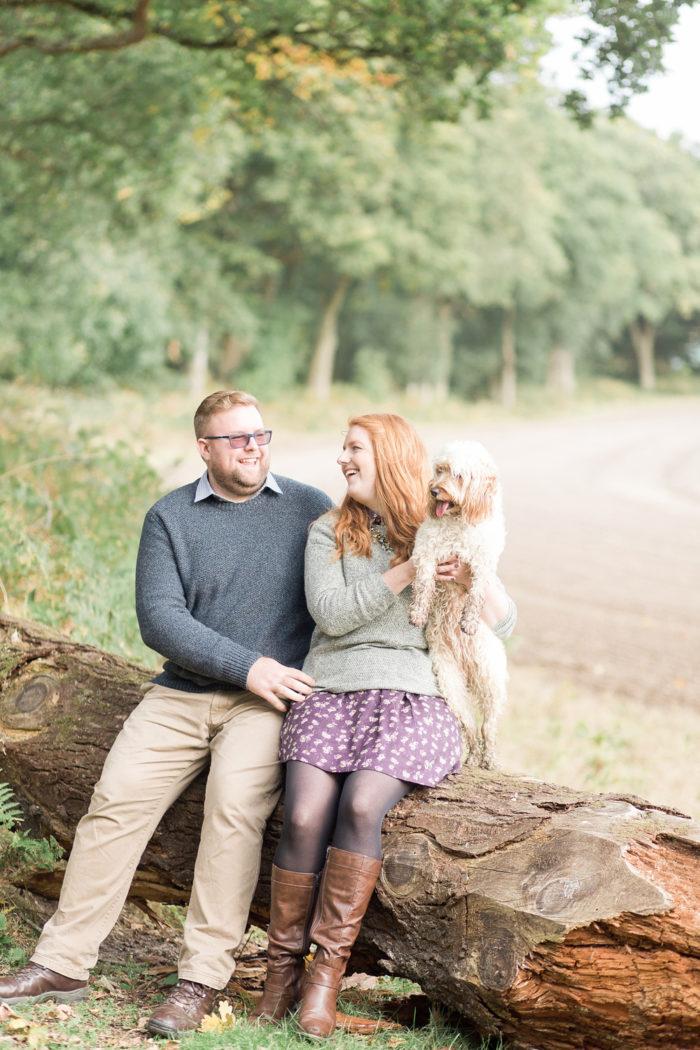 Woodland Engagement Shoot with dog