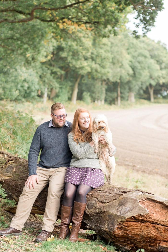 Woodland Engagement Shoot with dog portrait