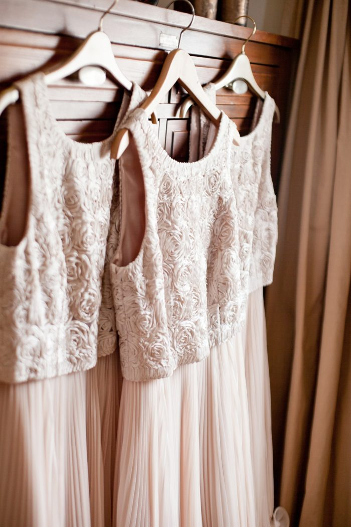 bridal prep dresses hanging