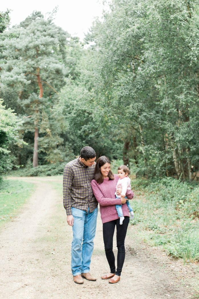 Family session in woodland