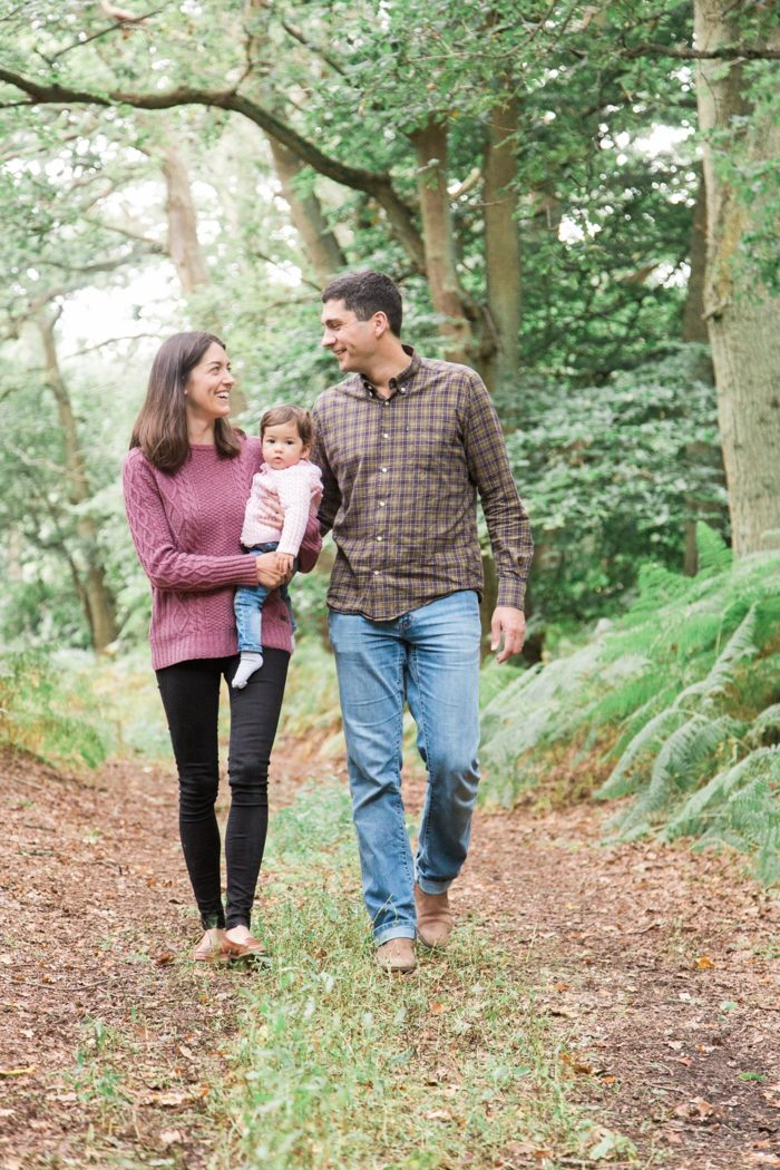 Family session in woodland walking