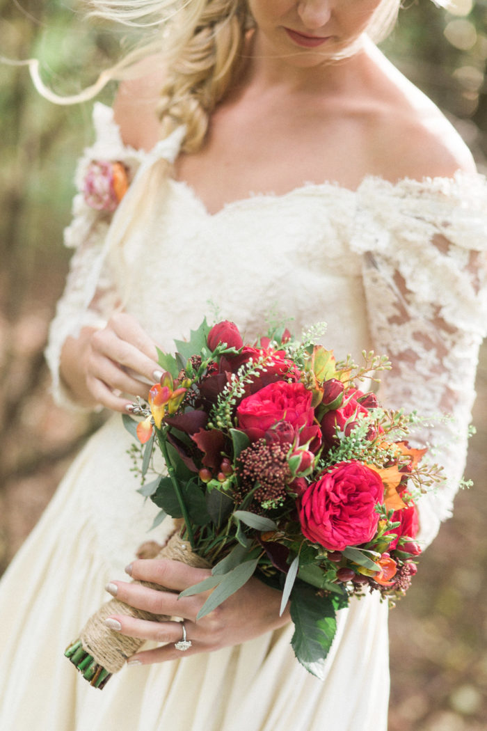 Fine Art Wedding Photography Styled Shoot Woodland Wedding Inspiration Autumn Lilybean Photography rose bouquet