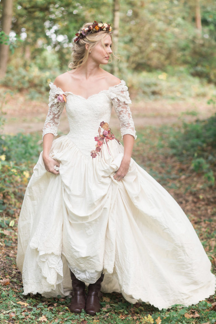 Fine Art Wedding Photography Styled Shoot Woodland Wedding Inspiration Autumn Lilybean Photography dress detail boots