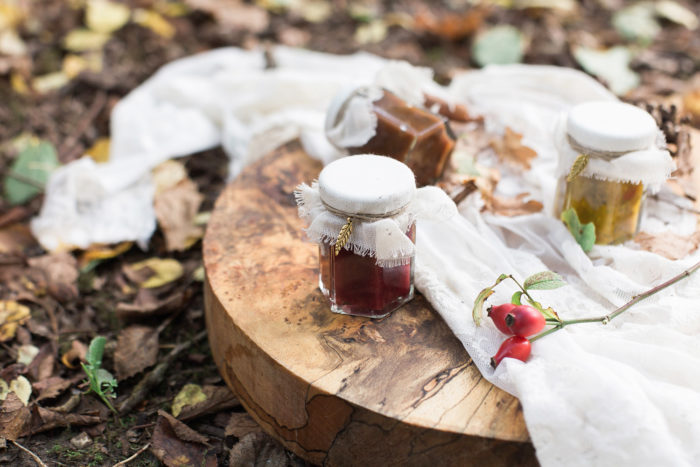 Fine Art Wedding Photography Styled Shoot Woodland Wedding Inspiration Autumn Lilybean Photography wedding favours rustic chutney jars