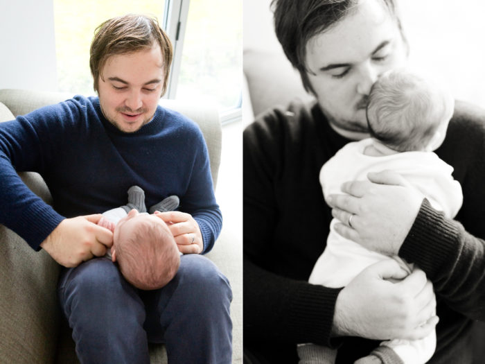 newborn baby session cuddles with father