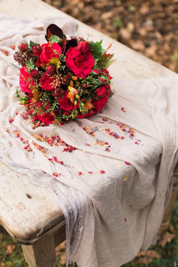 flowers on vintage table