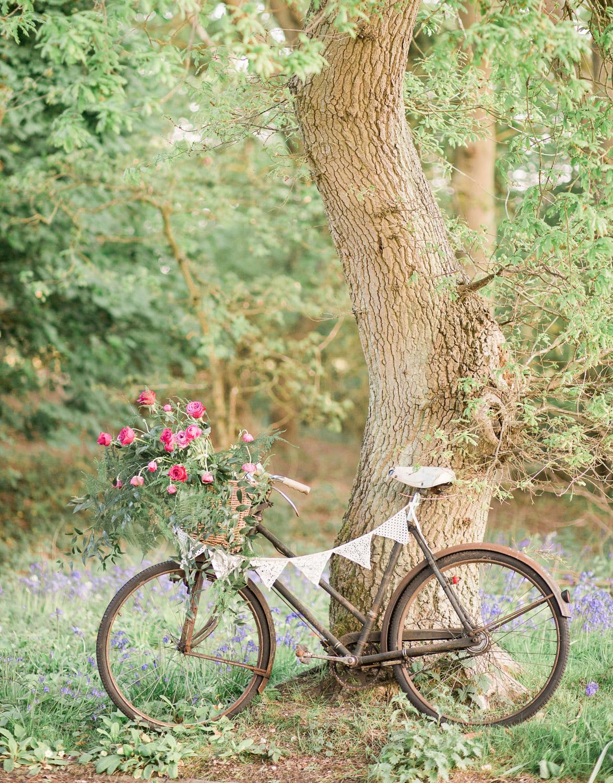 Wedding hire vintage bicycle in woodland