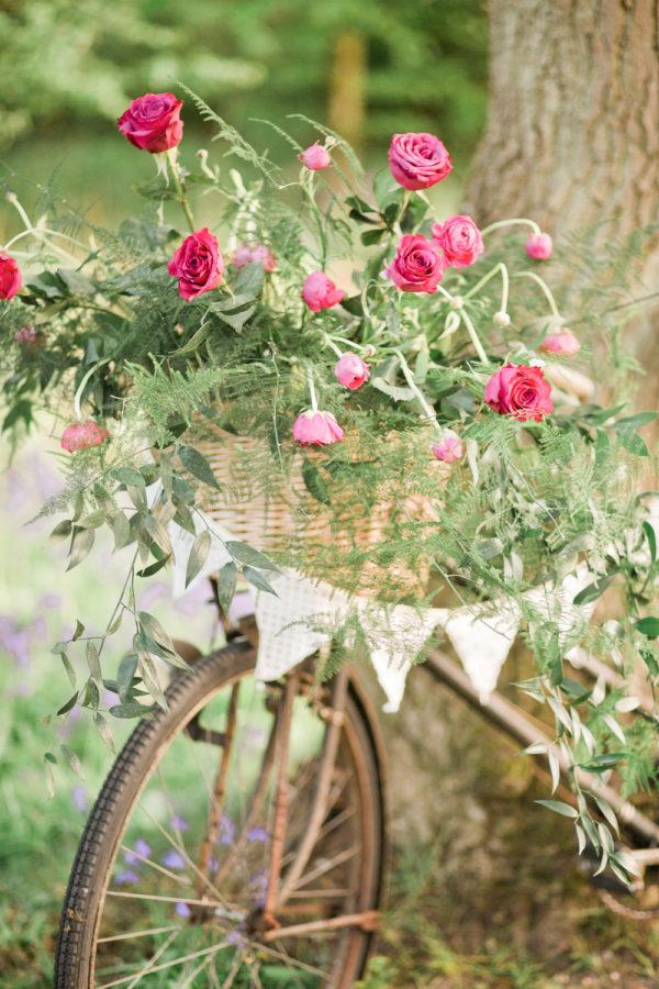 Wedding hire vintage bicycle floral display
