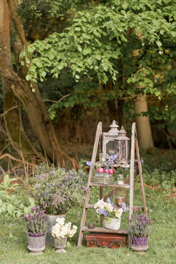 vintage stepladder rustic venue styling