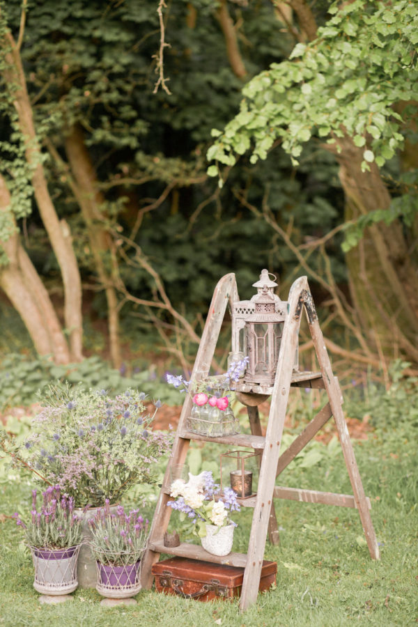 vintage stepladder venue styling