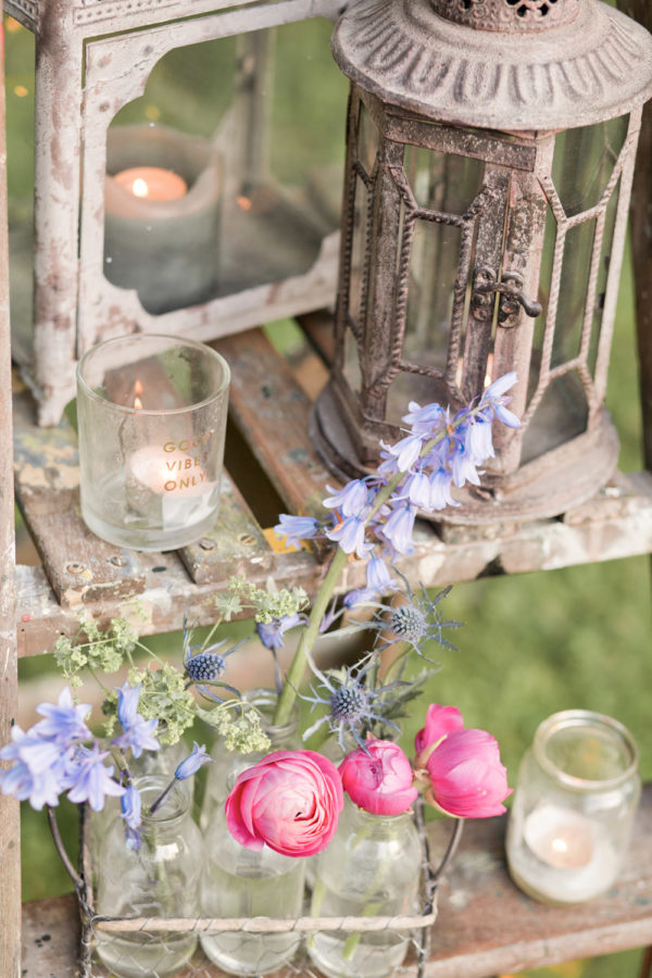 vintage stepladder with candles