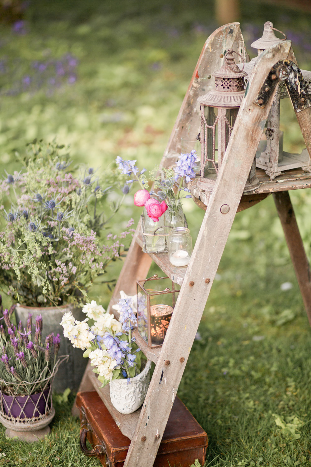 vintage stepladder with flowers