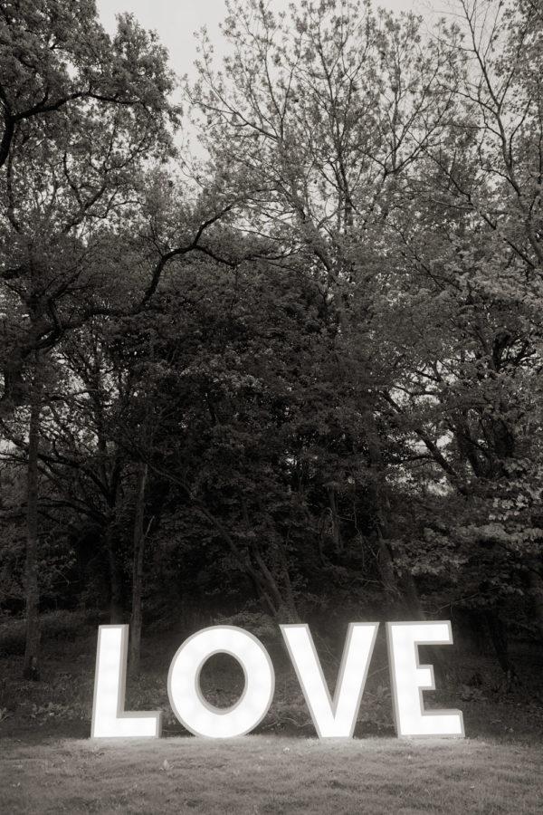 Illuminated LOVE letters wedding hire