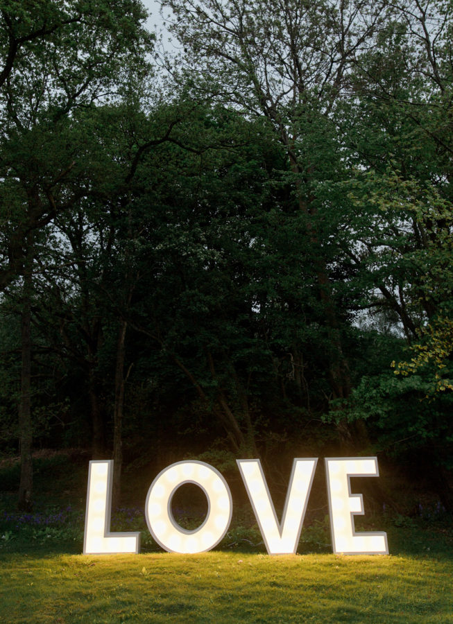 Illuminated LOVE letters wedding hire venue style