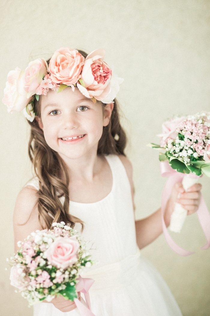 Fine Art Wedding Photography Beautiful Country Wedding flower girl with flower crown