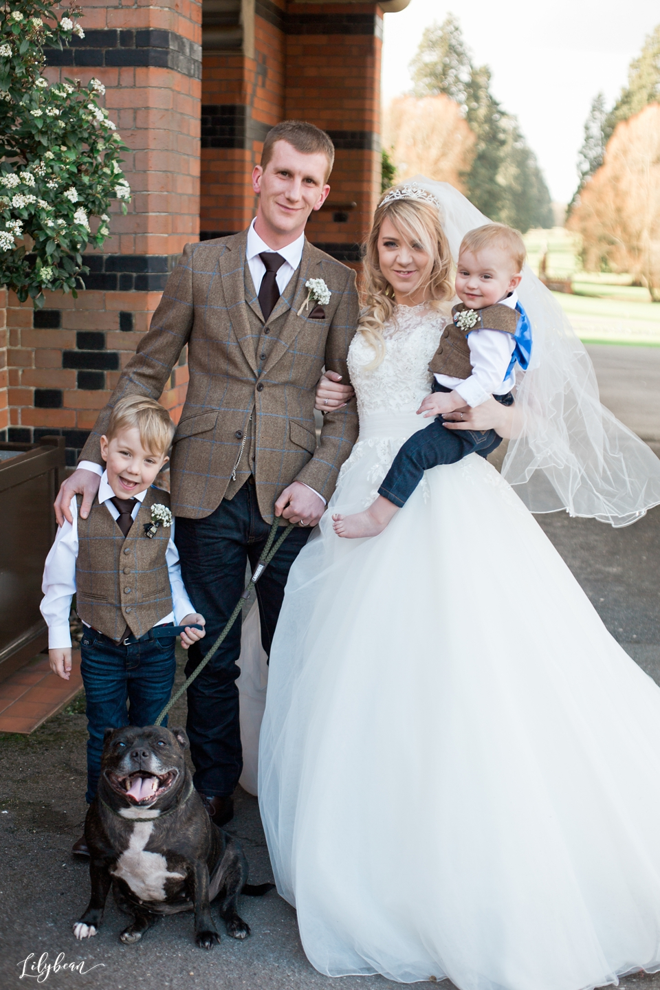 Natural family portrait on wedding day