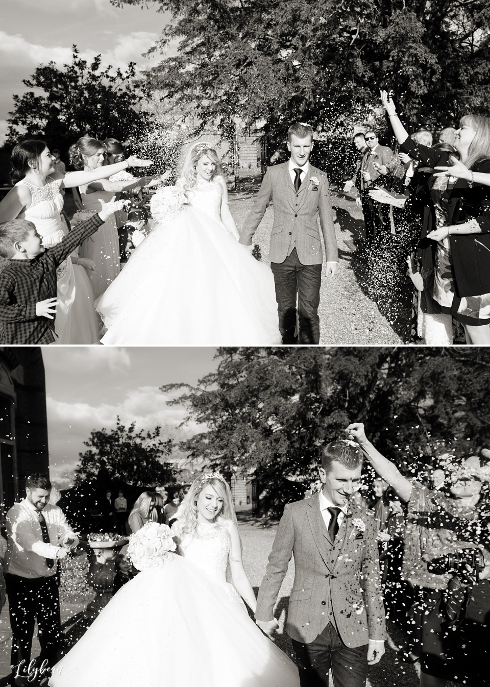 Confetti being thrown at bride & groom