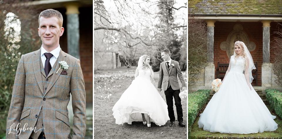 Bride & Groom walking through The Elvetham gardens