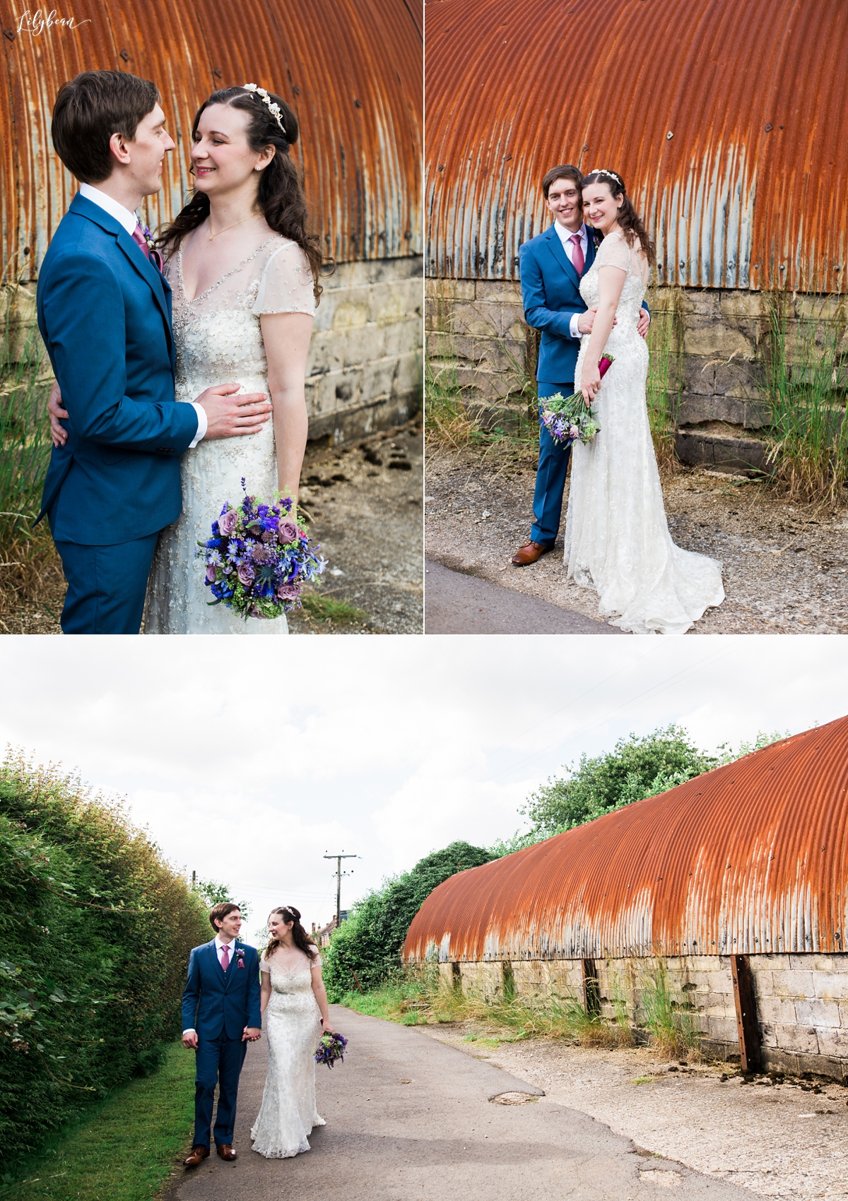 Rustic backdrop of Bride and Groom