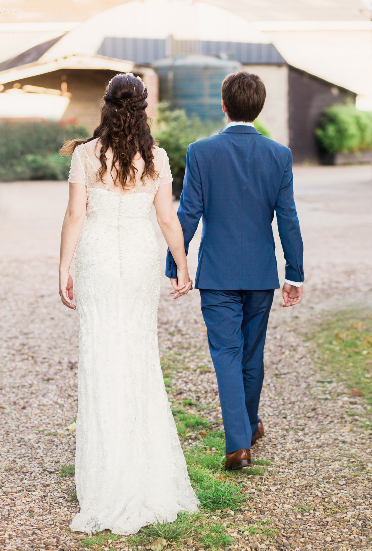 Beautiful back shot of Bride & Groom