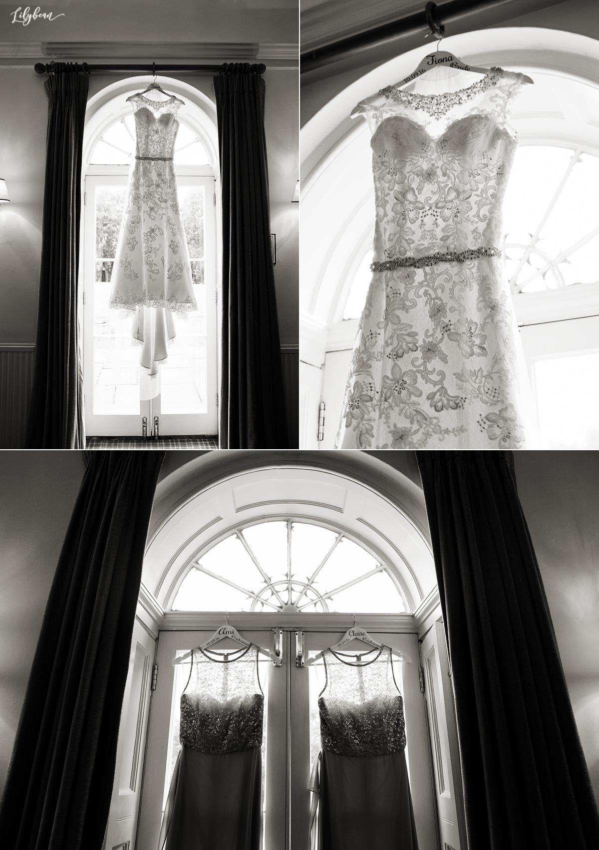 Beautiful lace wedding dress and bridesmaid dresses