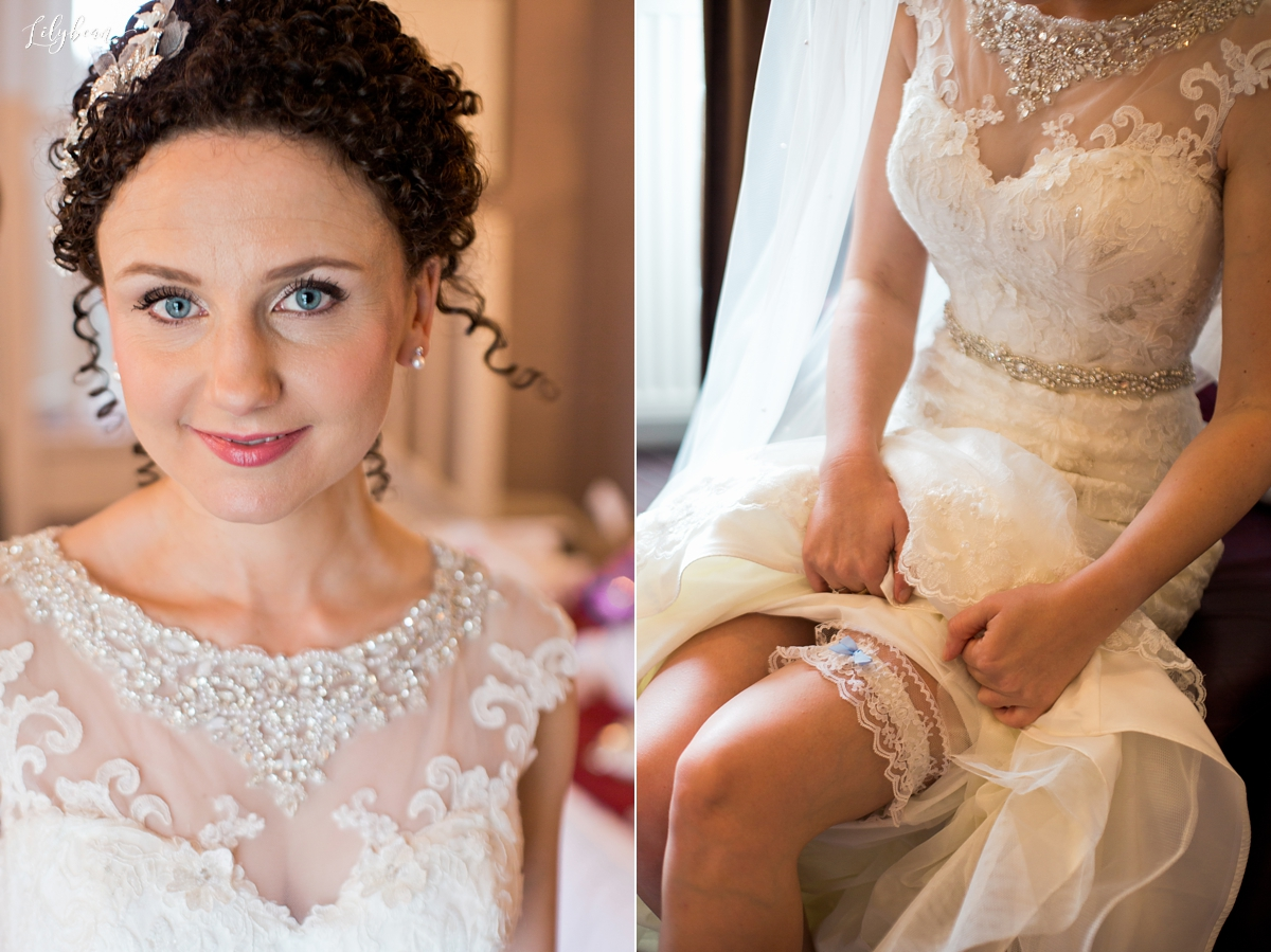 bridal portraits and garter detail