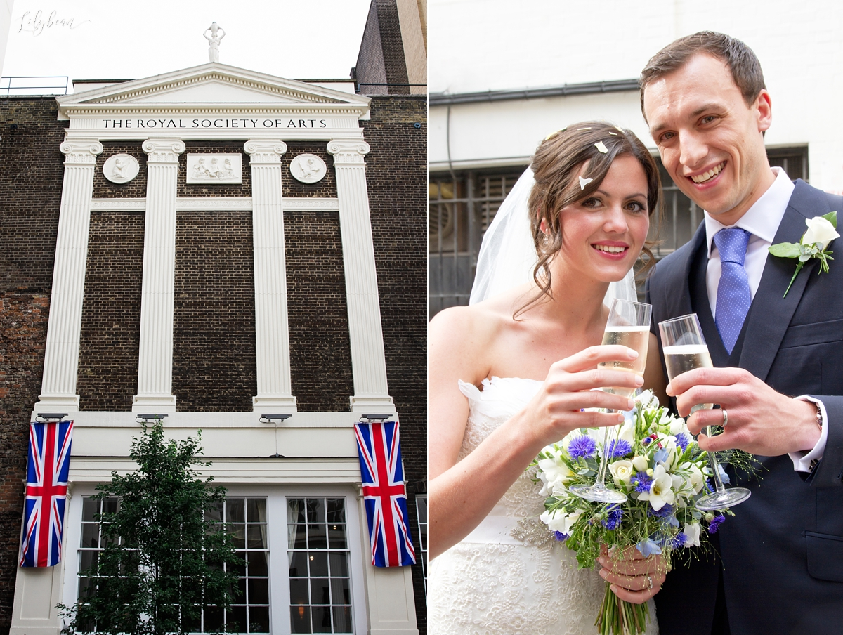 Bride & Groom having drinks outside RSA House