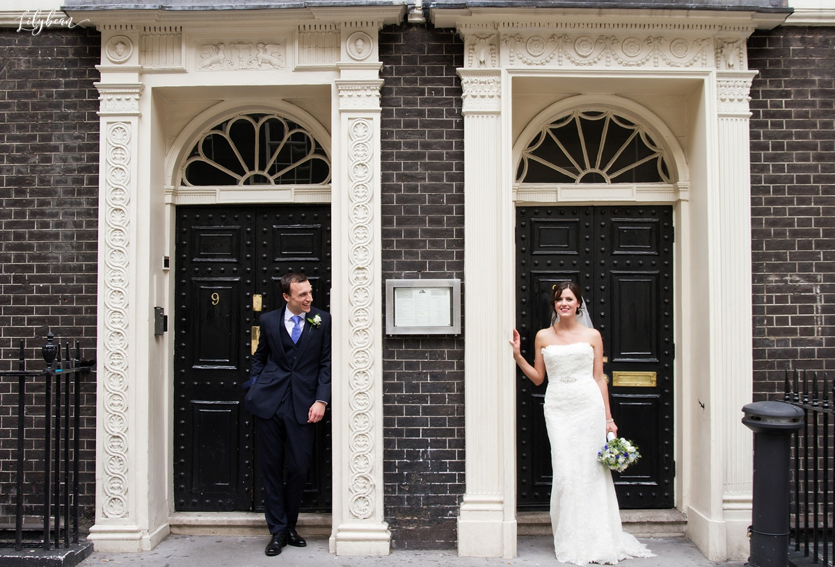 Informal shots of Bride and Groom using London doorways