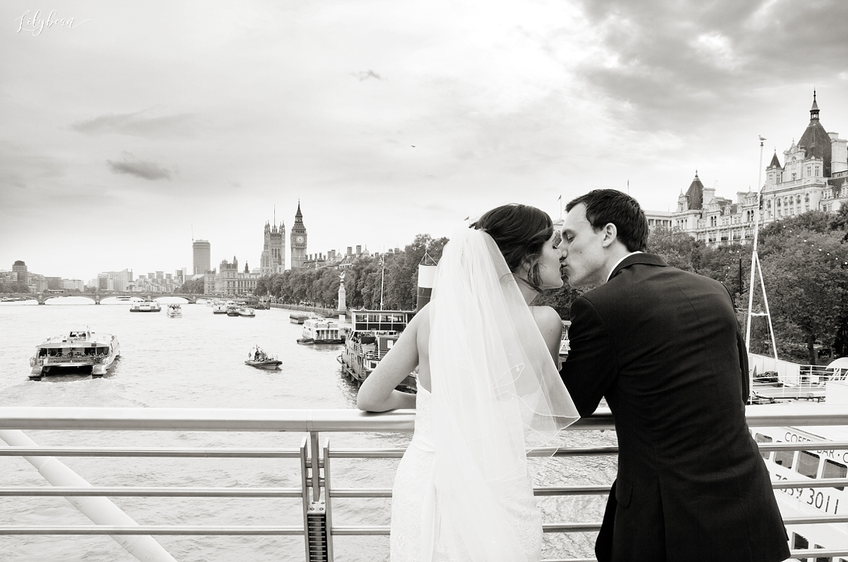View over the Thames, Big Ben, Houses of Parliament Bride & Groom