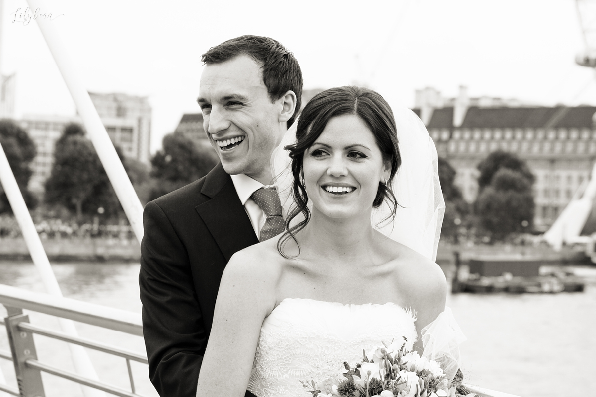 Bride and Groom candid on Thames bride