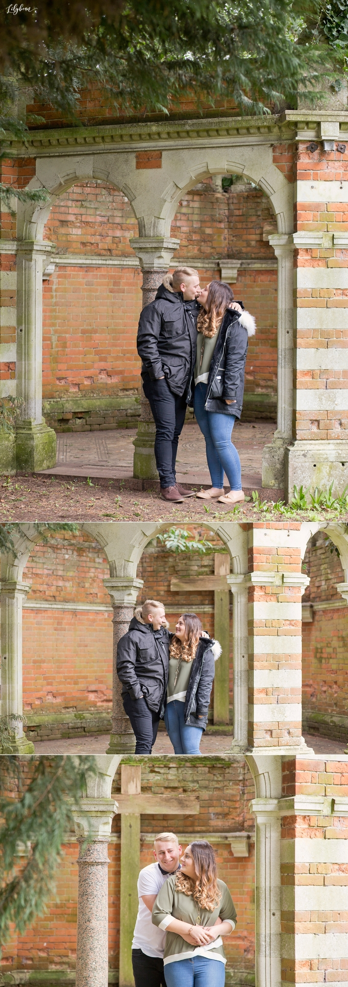 Couple kissing and together at The Tudor Barn
