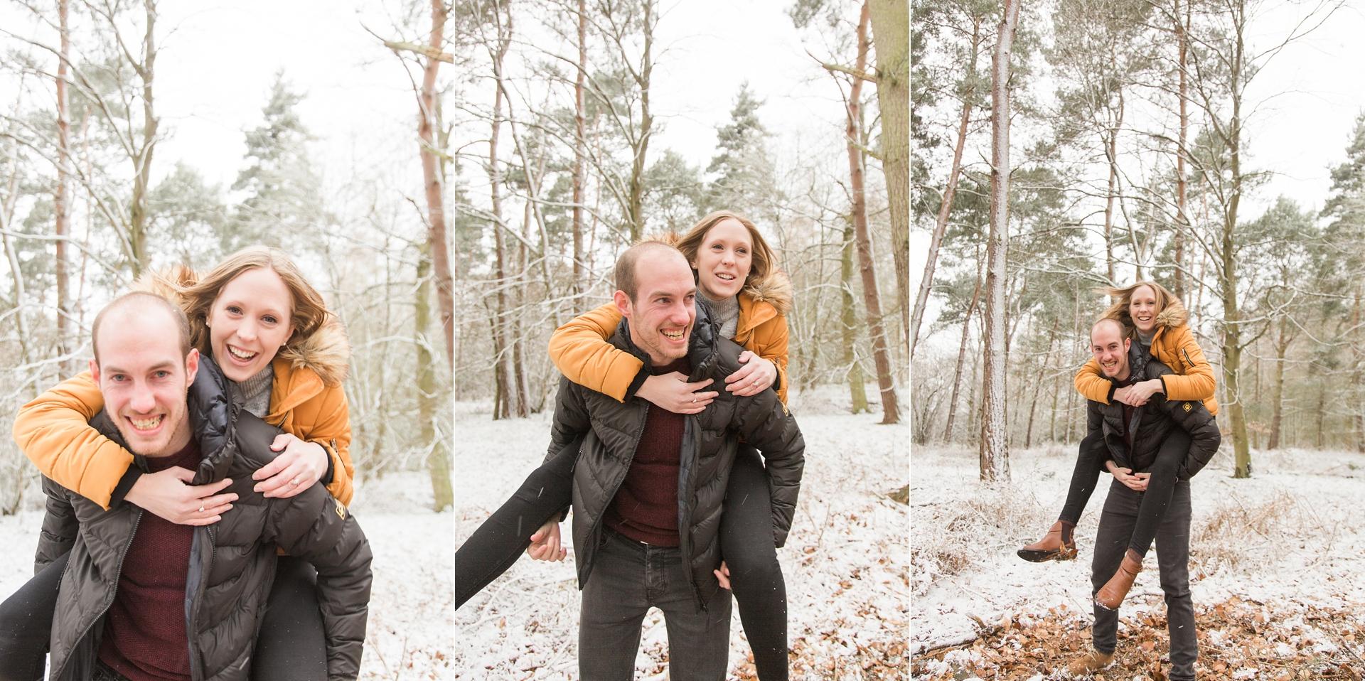 Woodland Engagement Shoot in snow piggyback