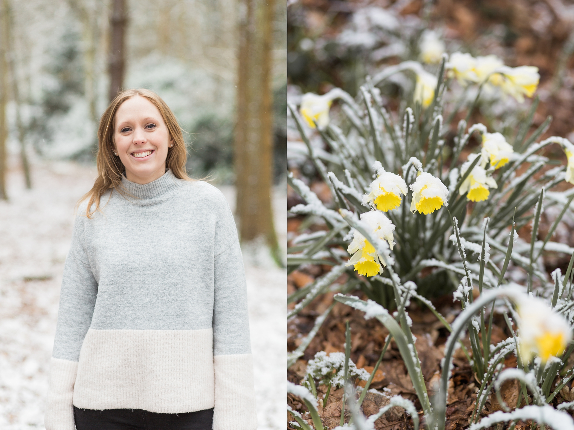 Woodland Engagement Shoot in snow portrait and daffodils