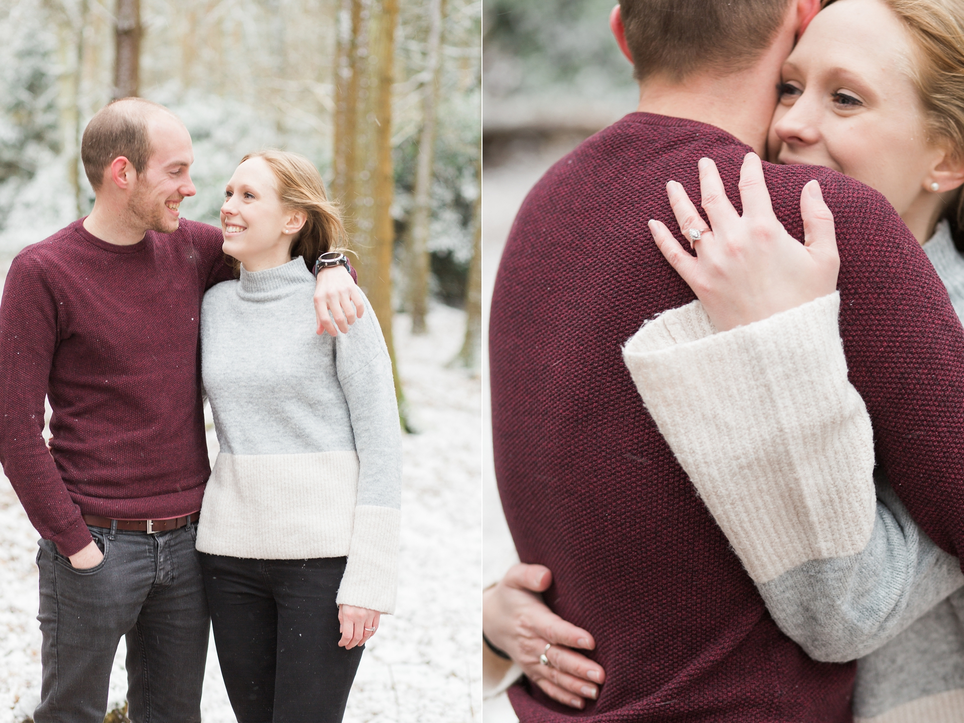 Woodland Engagement Shoot in snow engagement ring detail