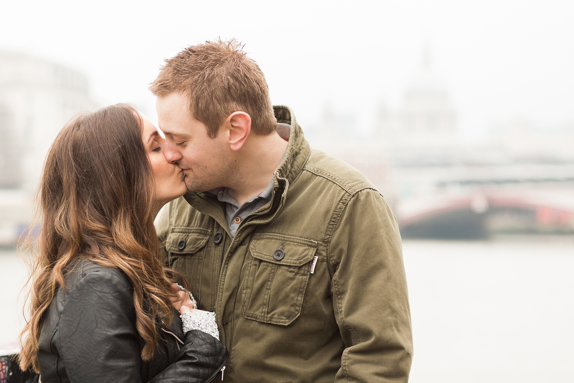 London Fine Art Engagement Photography sweet couple kissing