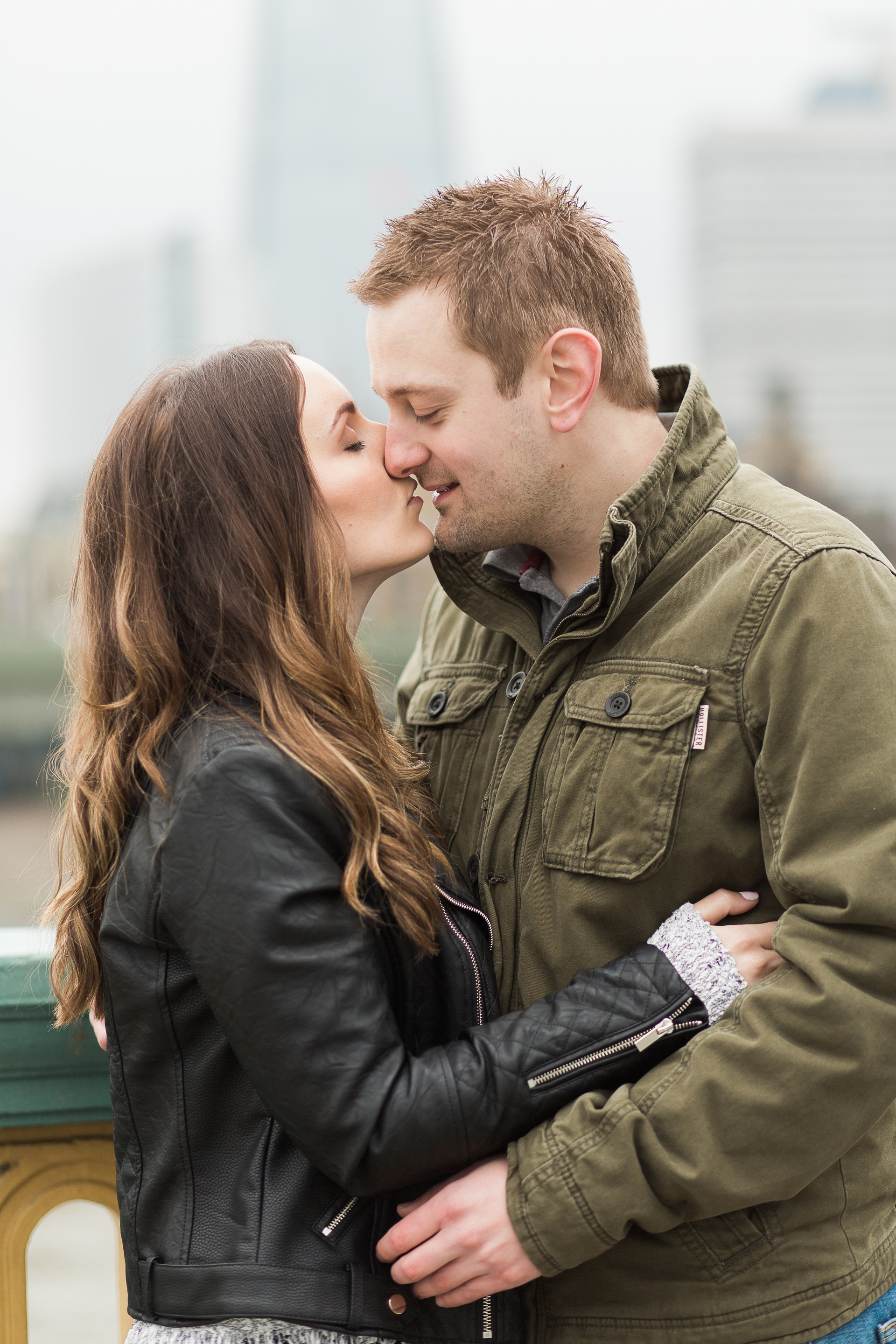 London Fine Art Engagement Photography couple about to kiss