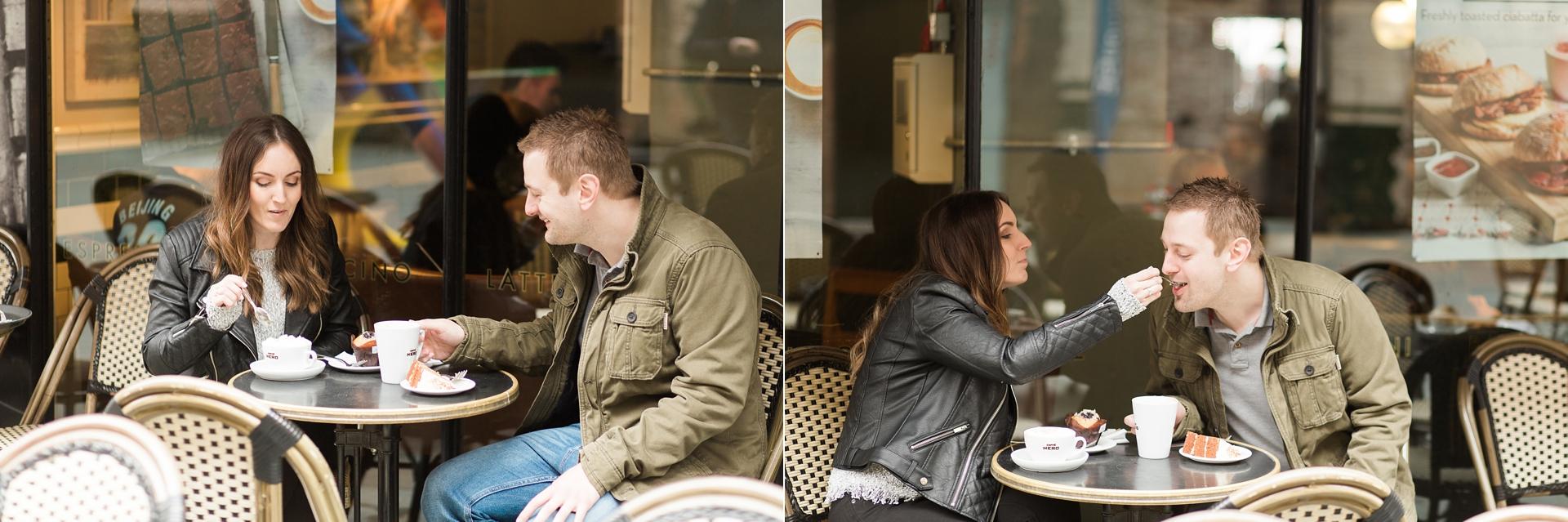 London Fine Art Engagement Photography coffee shop