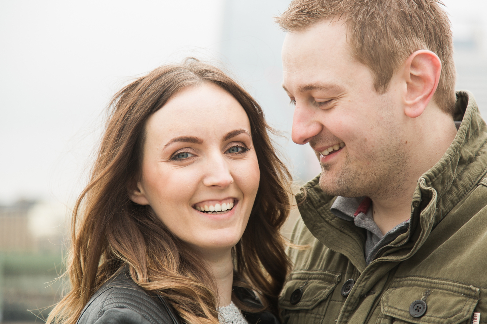 London Fine Art Engagement Photography close up of couple