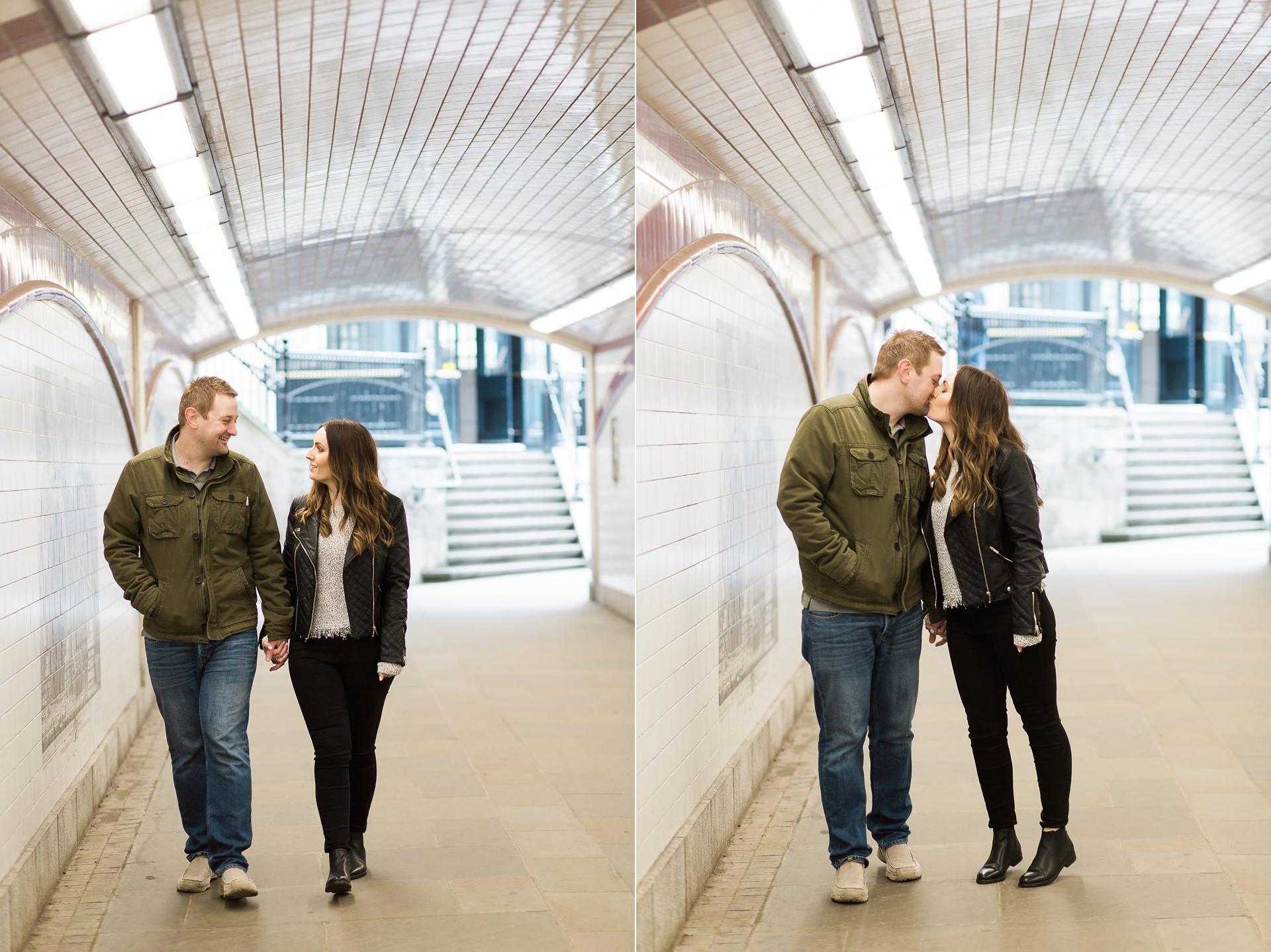 London Fine Art Engagement Photography couple walking underground