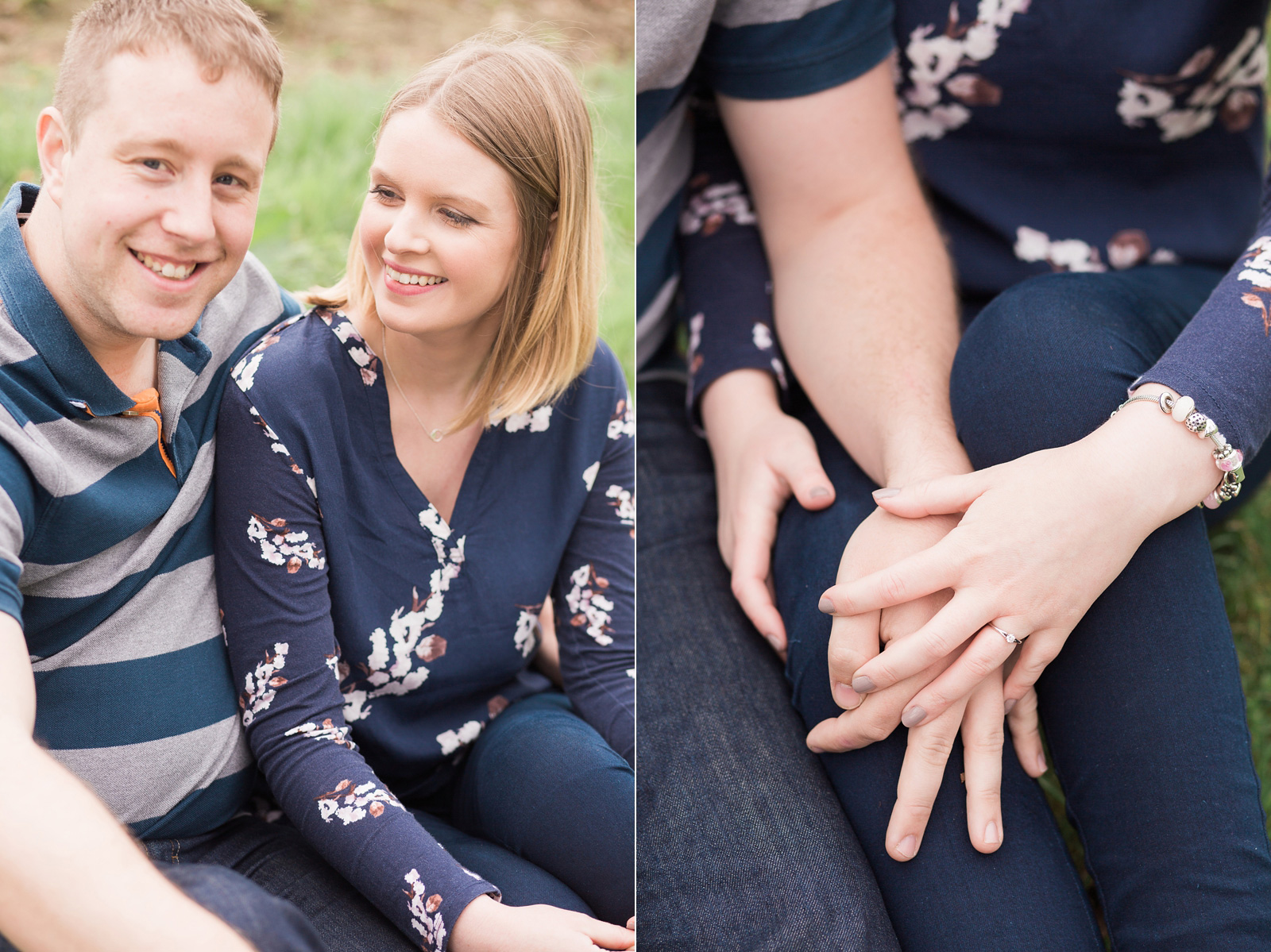 Dreamy woodland engagement shoot candid moments between couple