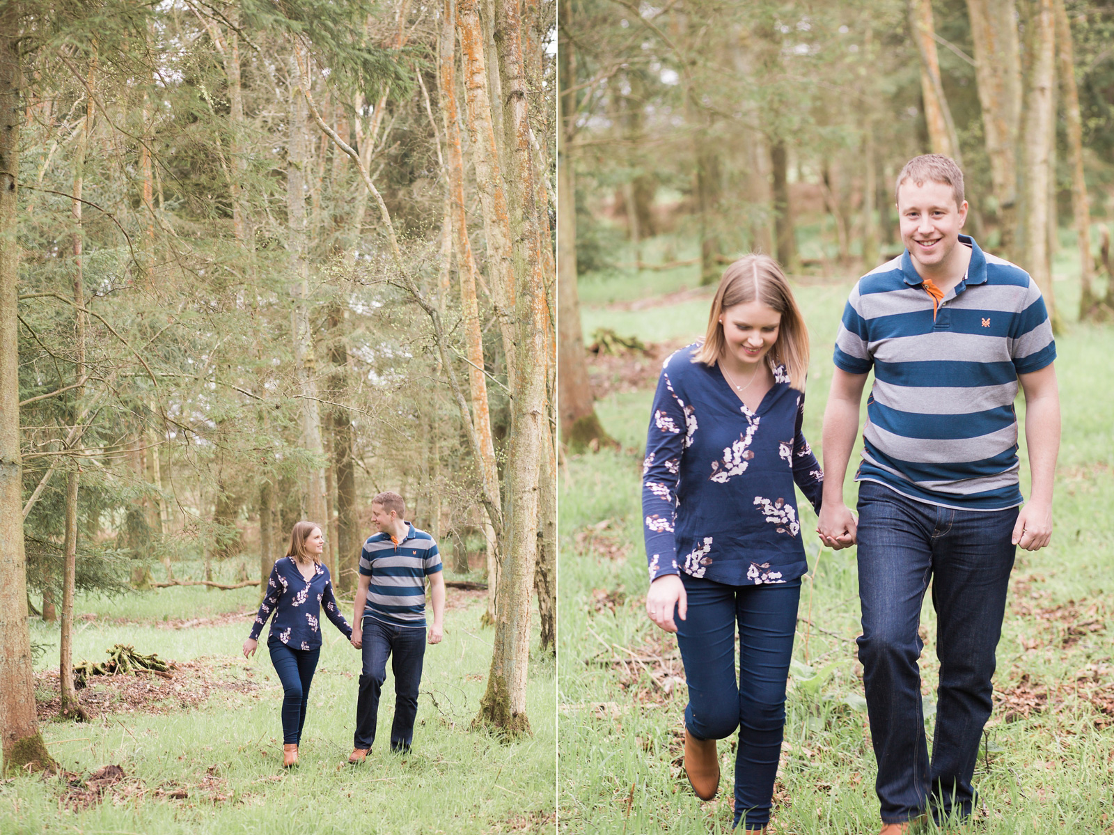 Dreamy woodland engagement shoot naturally walking together holding hands