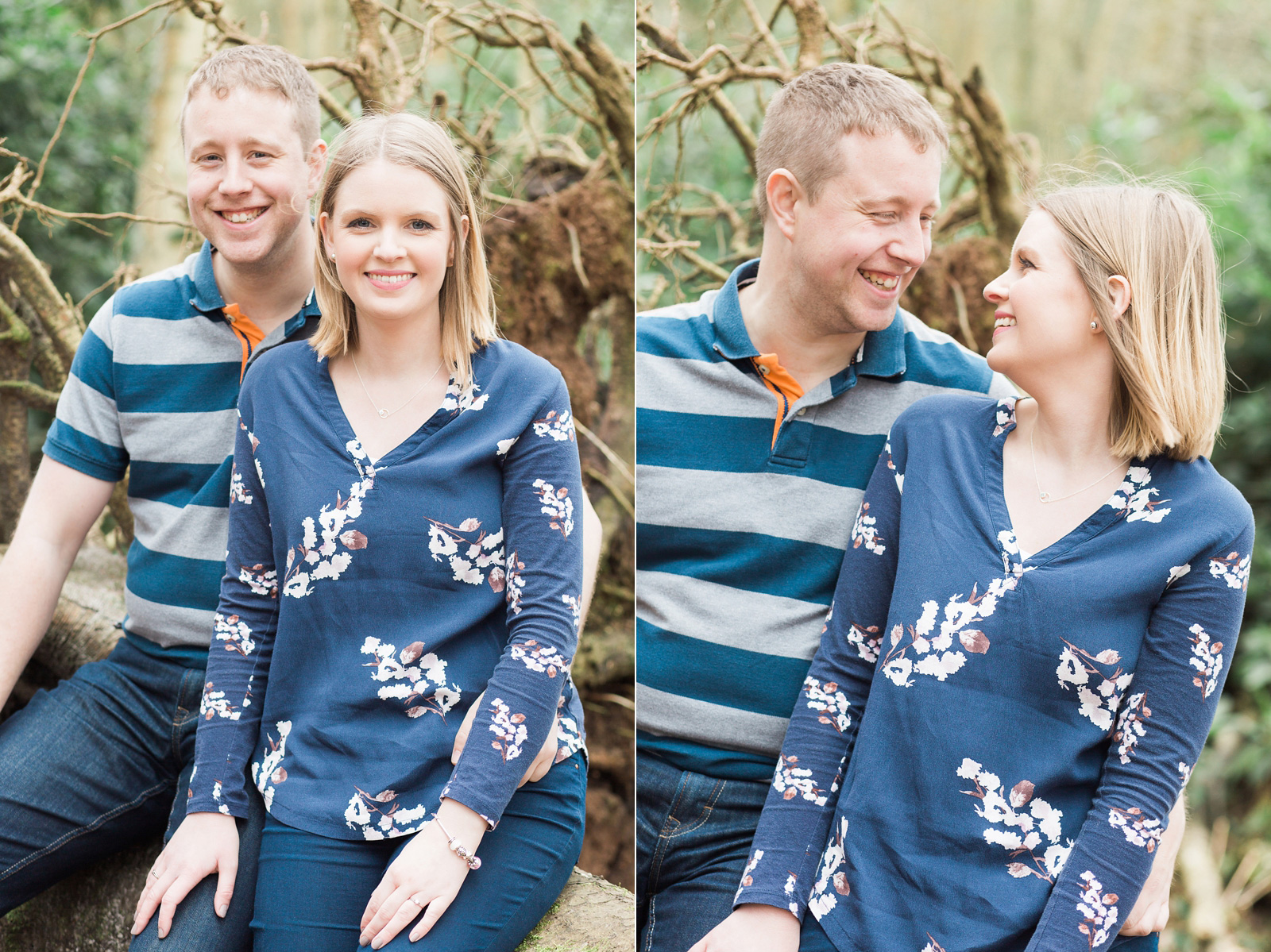 Dreamy woodland engagement shoot laughing together